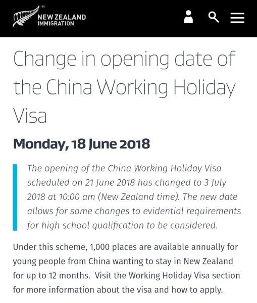 Nz working holiday visa china
