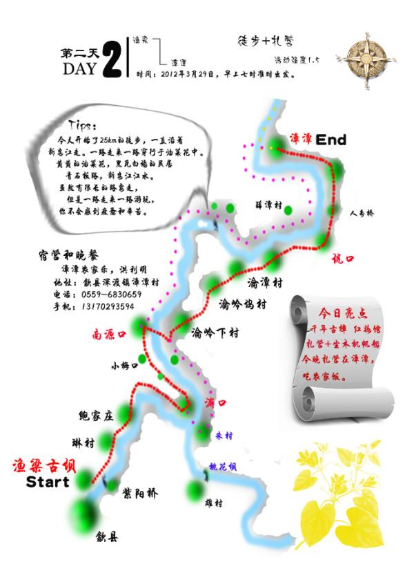 附手绘的徒步路线图)