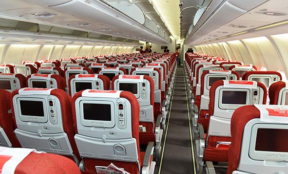 为川航a330-300型客机的公务舱和经济舱,与川航塞班航线的执飞机型